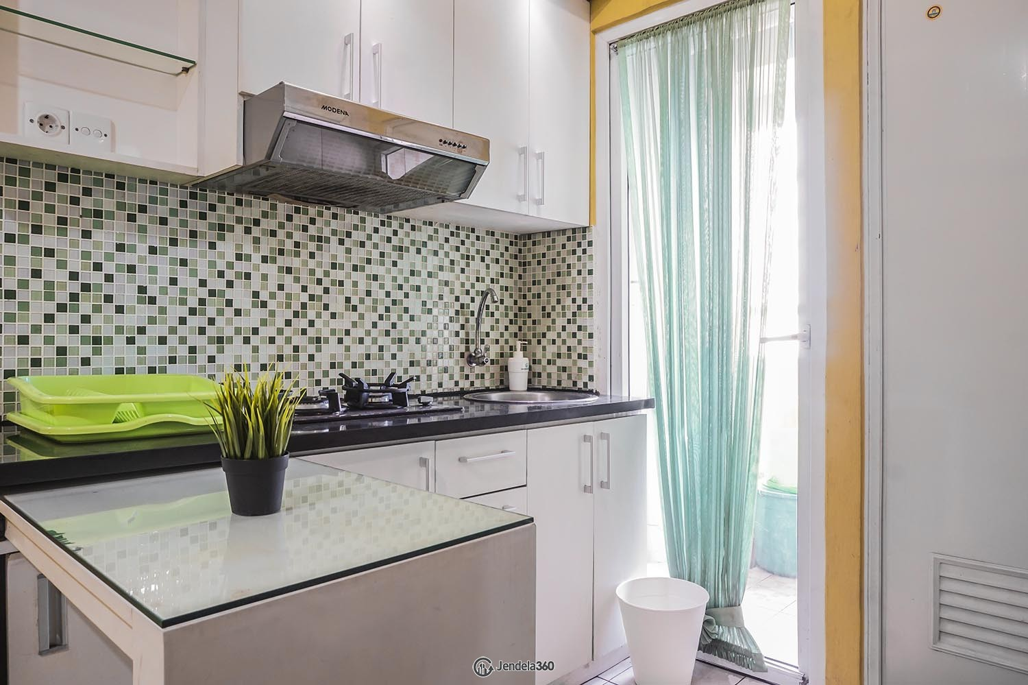Kitchen Green Pramuka City Apartment Apartment