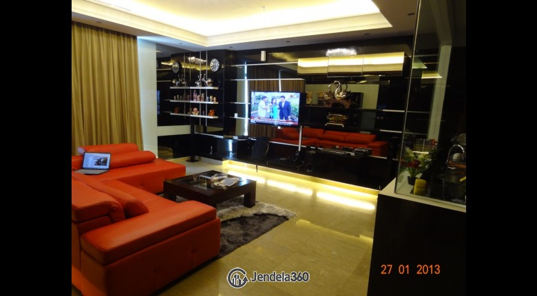 Living Room Essence Darmawangsa Apartment 3BR Fully Furnished Apartment