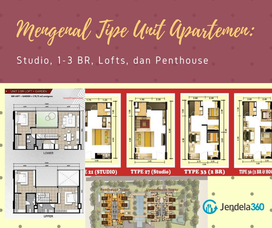 Mengenal Tipe Unit Apartemen: Studio, 1-3 BR, Lofts, dan Penthouse