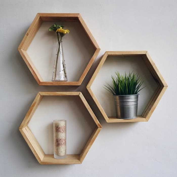 rak minimalis hexagon